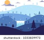 nature landscape flat design.... | Shutterstock .eps vector #1033839973