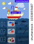 cool vector flat design fishing ... | Shutterstock .eps vector #1033855687