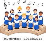 choir girls and boys singing a... | Shutterstock .eps vector #1033863313