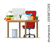 cluttered workplace. a desk... | Shutterstock .eps vector #1033871203