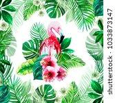 print green tropical leaves... | Shutterstock . vector #1033873147