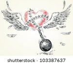 winged heart fettered fetters....   Shutterstock .eps vector #103387637