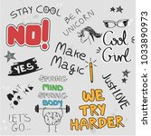 graphics slogan set isolated on ... | Shutterstock .eps vector #1033890973