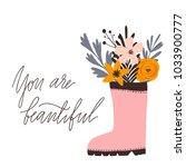 vector flowers   rubber boot | Shutterstock .eps vector #1033900777