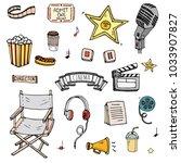 hand drawn doodle cinema set.... | Shutterstock .eps vector #1033907827