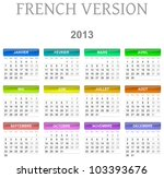 Colorful monday to sunday 2013 calendar french version illustration - stock photo