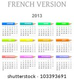 Colorful monday to sunday 2013 calendar with crayons french version illustration - stock photo