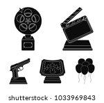 gold pistol  silver prize for... | Shutterstock .eps vector #1033969843