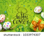 vector card with realistic 3d... | Shutterstock .eps vector #1033974307