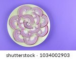 purple onions on a green plate  ...