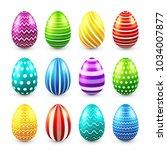 easter eggs colored set. spring.... | Shutterstock .eps vector #1034007877