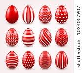 easter eggs red set. spring.... | Shutterstock .eps vector #1034007907
