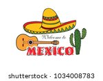 mexican icon. welcome to mexico ...   Shutterstock .eps vector #1034008783