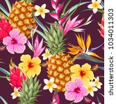 seamless pattern with pineapple ... | Shutterstock .eps vector #1034011303