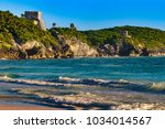 mexico. the mayan city of tulum ... | Shutterstock . vector #1034014567