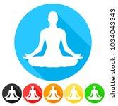 yoga lotus pose symbol icon....   Shutterstock .eps vector #1034043343