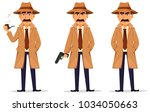 detective in hat and coat. set... | Shutterstock .eps vector #1034050663