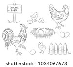 chicken  rooster  chicken  egg  ... | Shutterstock .eps vector #1034067673