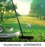 golf ball and putter begin to... | Shutterstock . vector #1034086903