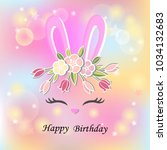vector illustration with bunny... | Shutterstock .eps vector #1034132683