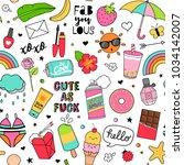 cute fun doodles seamless... | Shutterstock .eps vector #1034142007