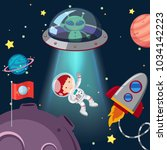 astronaut and alien in galaxy... | Shutterstock .eps vector #1034142223