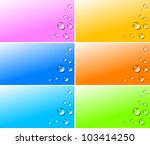 Transparent water drops with shadow on colorful gradient backgrounds illustration - stock photo