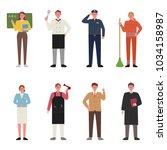 various jobs character. hand... | Shutterstock .eps vector #1034158987