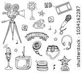 hand drawn doodle cinema set.... | Shutterstock .eps vector #1034162287