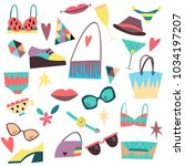 set of fashion elements ... | Shutterstock . vector #1034197207