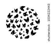 silhouette black fly flock of...   Shutterstock .eps vector #1034222443