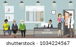 clinic reception interior with... | Shutterstock .eps vector #1034224567