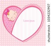 greeting card for newborn girl. ... | Shutterstock .eps vector #1034232907