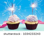 birthday cupcake with sparkles | Shutterstock . vector #1034233243