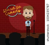 stand up comedy comic guy on... | Shutterstock .eps vector #1034235787