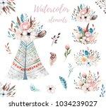 hand drawn watercolor tribal...   Shutterstock . vector #1034239027