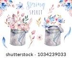 watercolor vintage gardening...   Shutterstock . vector #1034239033