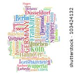 Germany map and words cloud with larger cities - stock photo