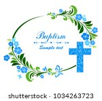 baptism card design with cross. ... | Shutterstock .eps vector #1034263723