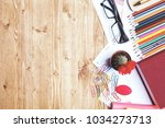 wooden office table top with... | Shutterstock . vector #1034273713