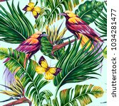tropical seamless vector floral ... | Shutterstock .eps vector #1034281477