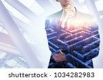 thoughtful businessman on...   Shutterstock . vector #1034282983