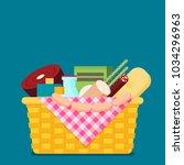 wicker picnic basket. flat...   Shutterstock .eps vector #1034296963