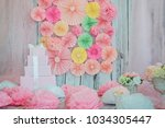 decor of paper flowers  sockets ... | Shutterstock . vector #1034305447