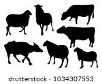 cow and sheep silhouettes | Shutterstock .eps vector #1034307553