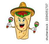 burrito in mexican hat sombrero ... | Shutterstock .eps vector #1034351737