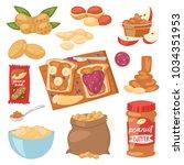 peanut vector groundnut butter... | Shutterstock .eps vector #1034351953