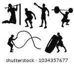 silhouettes of man working out... | Shutterstock .eps vector #1034357677