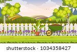 beautiful flower bed vector...   Shutterstock .eps vector #1034358427
