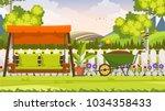 beautiful flower bed vector...   Shutterstock .eps vector #1034358433